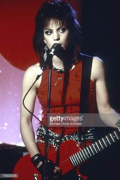 Guitarist Joan Jett of the rock band 'The Runaways' performs on stage in Los Angeles in 1978