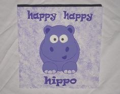 Nursery Canvas Painting: Happy Hippo by ExclusivelyEmaleigh