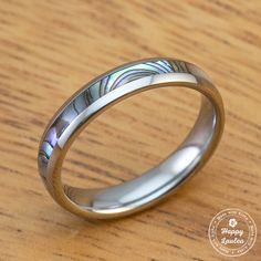 Tungsten Carbide Ring with Abalone Shell Inlay (4mm width, Barrel Shaped)