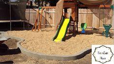 This inSane House: DIY Concrete Edger or Retaining Curb Concrete Landscape Edging, Concrete Edger, Concrete Curbing, Landscape Borders, Diy Concrete, Cement, Outside Playground, Playground Set, Backyard Playground