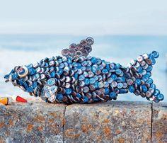 Un poisson en capsules de bouteilles