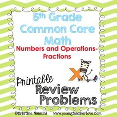 5th Grade Math Review or Homework - Help your fifth graders work on word problems, visual fraction models, calculation and operation problems, and more with this great Numbers and Operations of Fractions download. Great for morning work, tests, quizzes, spiral review, games, exit slips, test prep, assessments and more. Use it for 4th grade enrichment or 6th grade review. #YoungTeacherLove #5thGrade