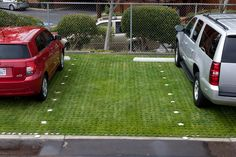 drivable grass pavers and sod for a green parking lot