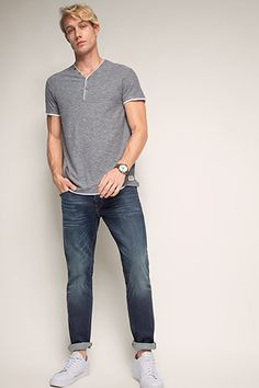 Esprit / stretch jeans with worn effects Latest Fashion, Mens Fashion, Stretch Jeans, Fashion Accessories, Normcore, Menswear, Mens Tops, Shopping, Women