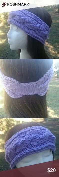 """Hand Knit Lilac Purple Ear Warmer Headband Hand Knit earwarmer has large cable is designed and hand knit by me.  Measures 9 1/4"""" long  x 3 1/4"""" wide. Underneath has a 1 1/2"""" long x 2 1/4"""" wide area so it's not wide all the way around if you want to wear it under your hair. Price firm unless included in bundle.  100% acrylic yarn is machine washable! Lobax  Accessories Hair Accessories"""