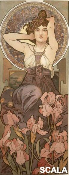 Alphonse Mucha: Amethyst/ L'Amethyste A beautiful Art Nouveau Lady. Alfons Maria Mucha, often known in English and French as Alphonse Mucha, wa.