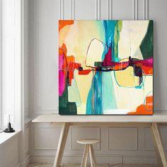 Grande rose orange bleu peinture abstraite art abstrait et