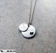ID Tag med hjerte i sterling sølv samt lille ID tag - begge med gravering