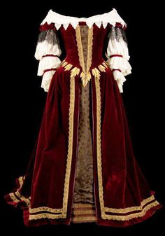 1650 Gold-trimmed maroon abito  From www.baroque.it/abbigliamento-e-moda-nel-barocco.
