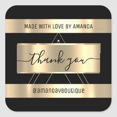 Thank You Shopping Custom Name Gold Black Square Sticker Anniversary Party Favors, Wedding Anniversary, Black Square, Bridal Shower Favors, Love Is Sweet, Business Supplies, Custom Stickers, Keep It Cleaner, Black Gold