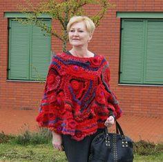 Freeform Crochet poncho avant garde artist poncho size