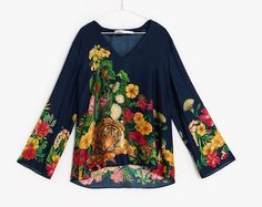 NWT ZARA PRINTED FLORAL VISCOSE TUNIC SHIRT Blouse Size M One Size Ref.1753/532 #ZARA #Blouse #Casual