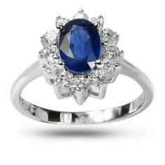 De Buman Highly Polished Sterling Silver Sapphire and Cubic Zirconia Ring (Size 5.75), Women's, Blue