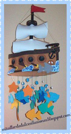 Móvil barco pirata para los niños