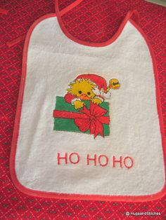 Adorable  Embroidered Terry Cloth Bibs for Baby's First Christmas