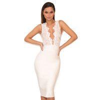 'Ria'  White Lace and Bandage Deep V Dress