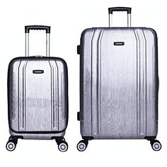 InUSA SouthWorld SL 2piece Hardside Spinner Luggage Set  Silver Brush -- Want additional info? Click on the image.