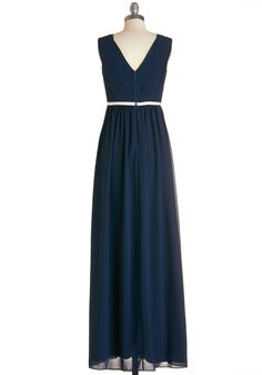 Cascading Grace Dress. If tonight were a movie, the music would stop, heads would turn, and the spotlight would shine on you as you make your entrance in this graceful maxi dress! #blue #prom #wedding #bridesmaid #modcloth