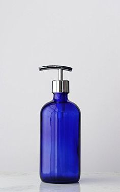 Market Blue Glass Soap Dispenser with Metal Pump Chrome Modern >>> Want to know more, click on the image.