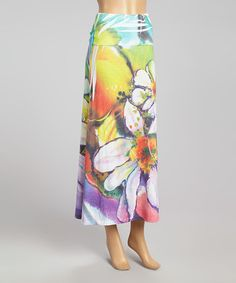 Loving this Blue & Purple Abstract Floral Maxi Skirt on #zulily! #zulilyfinds