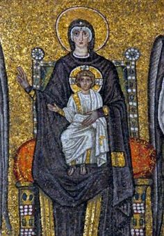 Virgin and Child, from the Procession of the Martyrs in the nave (mosaic), Byzantine School, (6th century) / Sant'Apollinare Nuovo, Ravenna, Italy / Giraudon / Bridgeman Giraudon