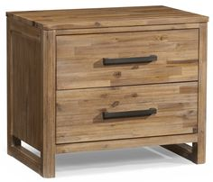 Waverly Two-Drawer Modern Rustic Nightstand with Built-In Power Strip by Cresent Fine Furniture at Jacksonville Furniture Mart Log Furniture, Solid Wood Furniture, Fine Furniture, Bedroom Furniture, Modern Furniture, Bedroom Dressers, Belfort Furniture, Unique Bedside Tables, Waverly Bedding