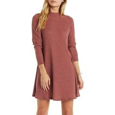 Charlotte Russe Waffle Knit Mock Neck Shift Dress ($25) ❤ liked on Polyvore featuring dresses, purple taupe, purple dress, a line dress, long dresses, sundress dresses and red dress