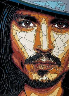 Johnny Depp by Allan Butt and Rita Gav. Mosaic artwork shows off famous faces like you've never seen them before Mosaic Crafts, Mosaic Projects, Mosaic Glass, Glass Art, Stained Glass, Mosaic Portrait, Frida Art, Mosaic Artwork, Mosaic Pieces