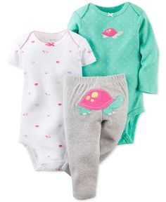 Carter\'s Baby Girls\' 3-Piece Turtle Bodysuits & Pants Set - Kids Baby Girl (0-24 months) - Macy\'s