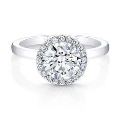 18K White Gold Sleek Band Diamond Halo Engagement Ring  - FM27875-18W
