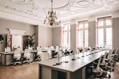"""Sella Concept creates """"grown-up"""" interiors inside London co-working space Public Hall Coworking Space, Office Interior Design, Office Interiors, Teal Coloured Wallpaper, Westminster, Design Ppt, Graphic Design, Best Office, Office 2020"""