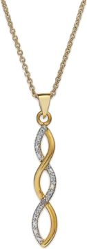 Eternally stylish. Victoria Townsend's sparkling infinity-shaped pendant is a must for your collection. Crafted in 18k gold over sterling silver with sparkling diamond accents.