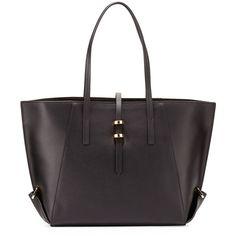 ZAC Zac Posen Eartha Leather Mini Shopper Tote Bag ($395) ❤ liked on Polyvore featuring bags, handbags, tote bags, black, black purse, leather shopper tote, black leather shopper, black leather handbags and leather tote