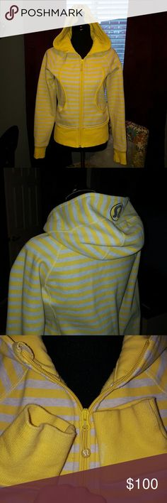 Lululemon scuba Hoodie! Very rare colors! Outstanding condition!  Tiny stains on cuffs. No snags! Light yellow & light gray. lululemon athletica Jackets & Coats