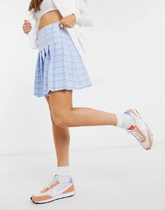 New Look mini pleated tennis skirt in pastel blue check | ASOS