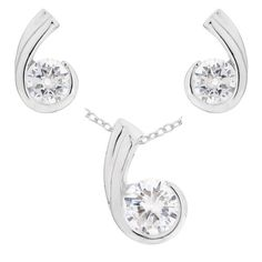 #Jewellery Set with Platinum Plated Silver Cubic Zirconia Pendant, Earring and Chain of 46cm