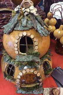 Enjoying a break from the traditional gourd work and playing with building fairy houses. This one sold at my last show in Lenexa. Have order...