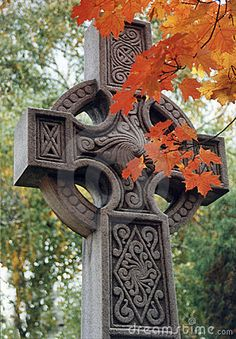 Celtic cross with fall colors