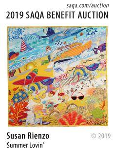 Artwork by Susan Rienzo (2019 SAQA Auction) Quilt Art, Quilt Making, Unique Art, Modern Art, Benefit, Fiber, Auction, Quilts, Awesome