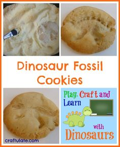 These dinosaur fossil cookies are easy to make using dino figurines. You could also excavate them first by covering them in coloured sugar! Dinosaur Mug, Dinosaur Fossils, Dinosaur Toys, Dinosaur Party, Dinosaur Birthday, Toddler School, Toddler Meals, Kids Meals, Dinosaur Activities