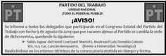 Periodismo sin Censura: ATENTO AVISO DEL PARTIDO DEL TRABAJO, QUINTANA ROO...