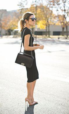Black Pencil Dress // Nude Pumps // Chanel Bag