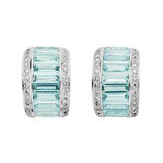 Pair of Aquamarine and Diamond Half-Hoop Earrings 18 kt. white gold, ap. 6.8 dwt.
