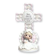 New Precious Moments® Girl Christening Cross Figurine