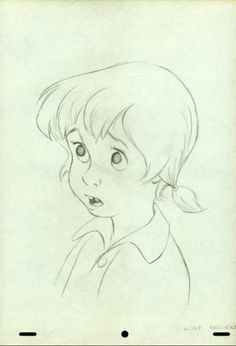 Production Drawing of Penny from The Rescuers by Ollie Johnston