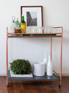 bar cart riviera chumbo, carrinho de chá feito em cobre