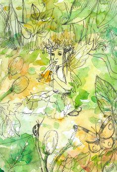 Original Fairy Art Summer Tunes Watercolor Fairy Painting Fantasy Art Illustration Music Flute Earth Nature Plants Flowers Ladybug Fairy