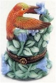 Porcelain Hinged Box Rufous Hummingbird MIB