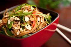 Asian Noodle Bowl (asian food) - adapt to candida diet or gluten-free by using soba noodles instead and substituting zylitol for sugar