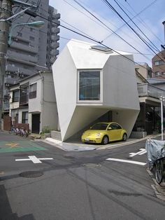 Japanese Futuristic Origami House - Japanese architect Yasuhiro Yamashita frees his mind completely from any traditional architectural dimensions. Especially, the partnership of the car and the home looks so natural as you can see in these photos. Maybe, it will be the most popular accommodation form to survive in Tokyo, overcrowded modern jungle. Effective usage of space and fashion.